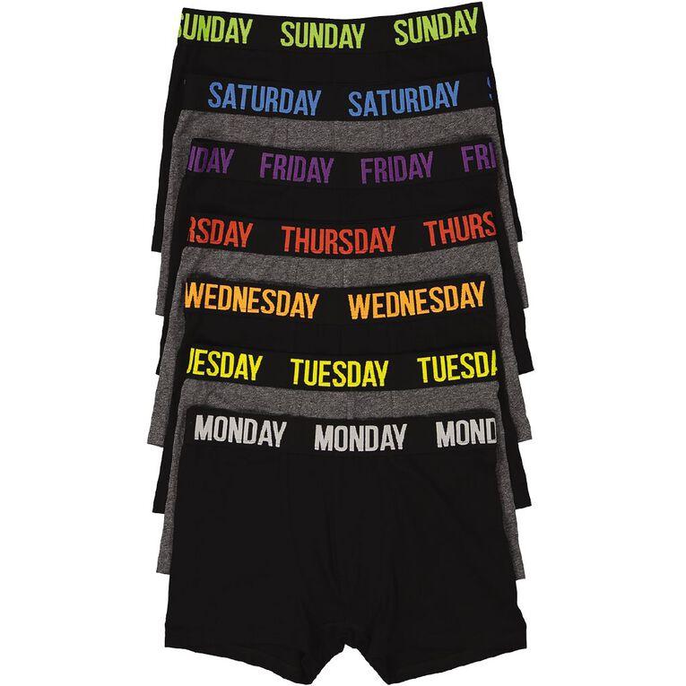 H&H Weekday Trunks 7 Pack, Black, hi-res