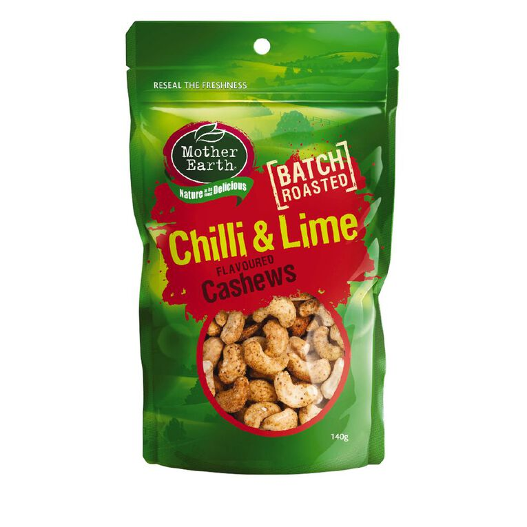 Mother Earth Chilli & Lime Cashews 140g, , hi-res