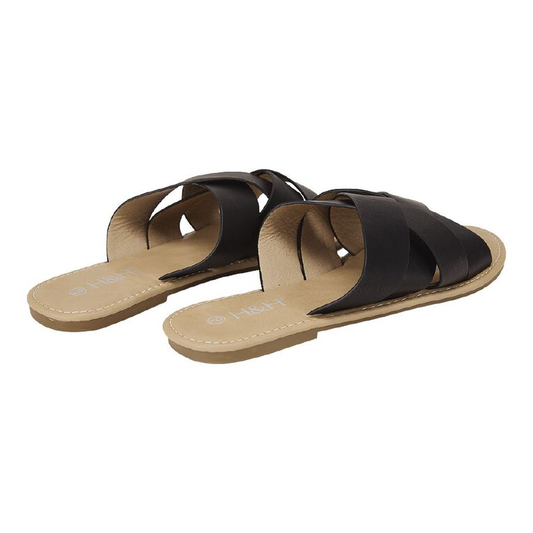 H&H Women's 4 Crossover Strap Sandals, Black, hi-res
