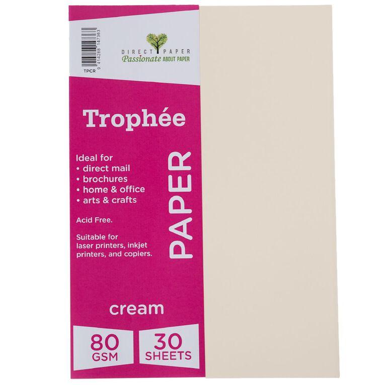 Trophee Paper 80gsm 30 Pack Cream A4, , hi-res