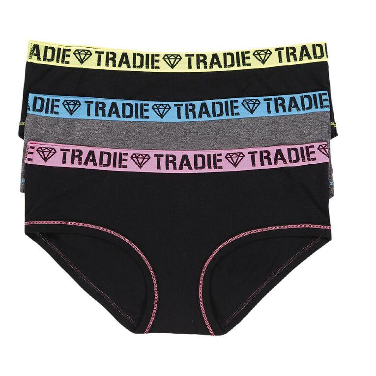 Tradie Women's Boyleg Briefs 3 Pack, Black, hi-res