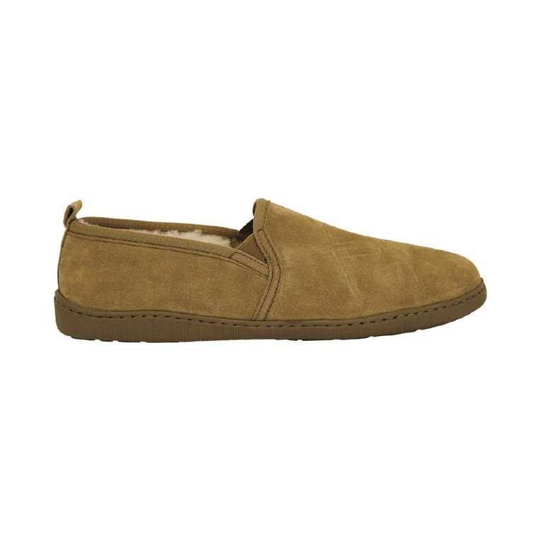 H&H Suede Leather Calm Slippers, Tan, hi-res