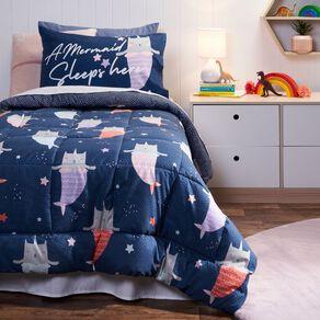 Living & Co Kids Comforter Set Caticorn Blue King Single