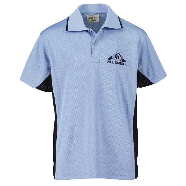 Schooltex Pukekohe Hill New Short Sleeve Polo with Embroidery, Sky Navy, hi-res