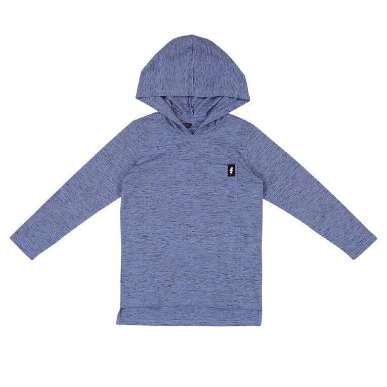 Young Original Long Sleeve Hood Pocket Tee, Blue Mid, hi-res