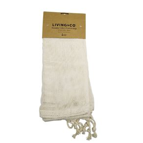 Living & Co Reusable Cotton Produce Bags Cream 5 Pack