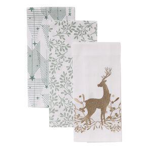 Wonderland Christmas Tea Towel Cotton 3 Pack