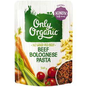 Only Organic Kindy Beef Bolognese Pasta Pouch 220g