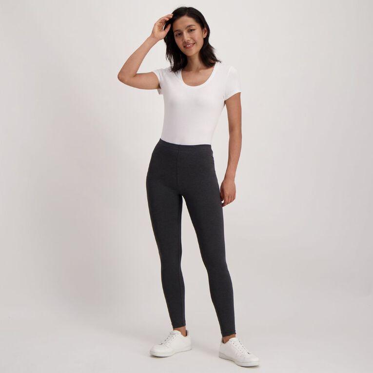 H&H Women's Long Leggings, Charcoal/Marle, hi-res