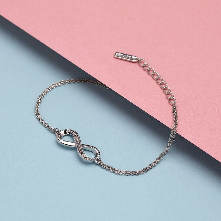 Mestige Infinitely Yours Silver Plated Bracelet with Swarovski Crystals, , hi-res