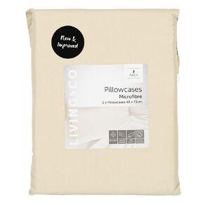 Living & Co Pillowcase Standard Microfibre 2 Piece Taupe 48cm x 73cm
