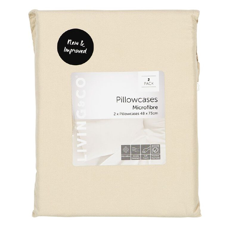 Living & Co Pillowcase Standard Microfibre 2 Piece Taupe 48cm x 73cm, Taupe, hi-res image number null