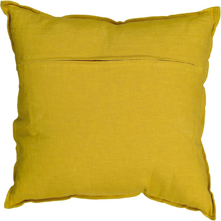 Living & Co Linen Rich Cushion Tawny Olive Yellow 50cm x 50cm, Yellow, hi-res image number null