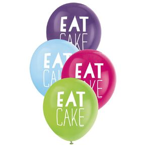 Unique Eat Cake Balloons 30cm Assorted 8 Pack