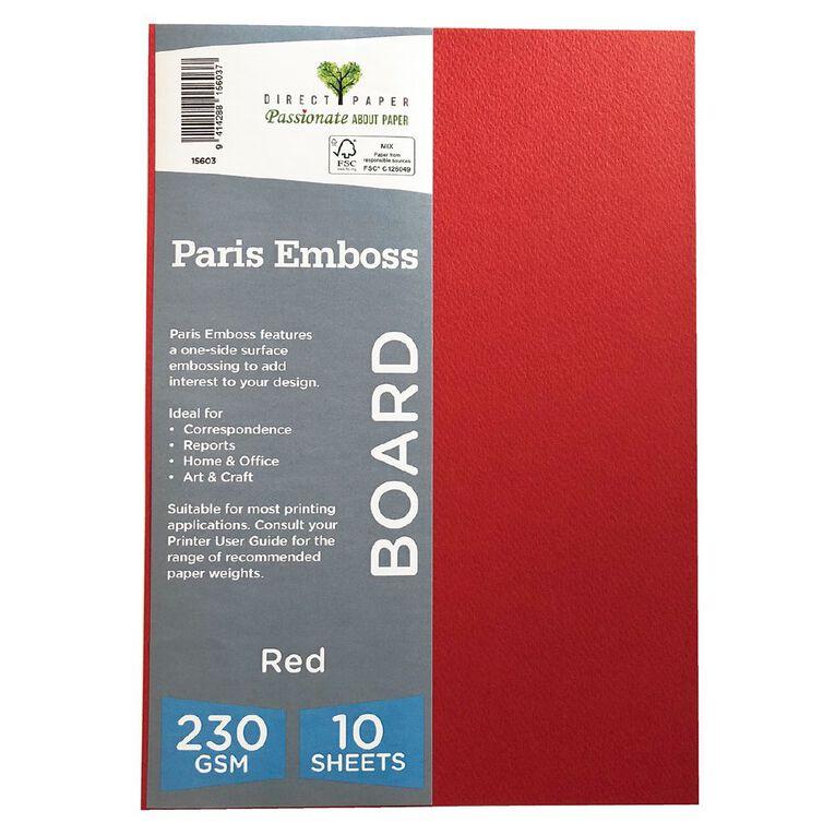 Direct Paper Paris Emboss 230gsm A4 10 Pack Red, , hi-res