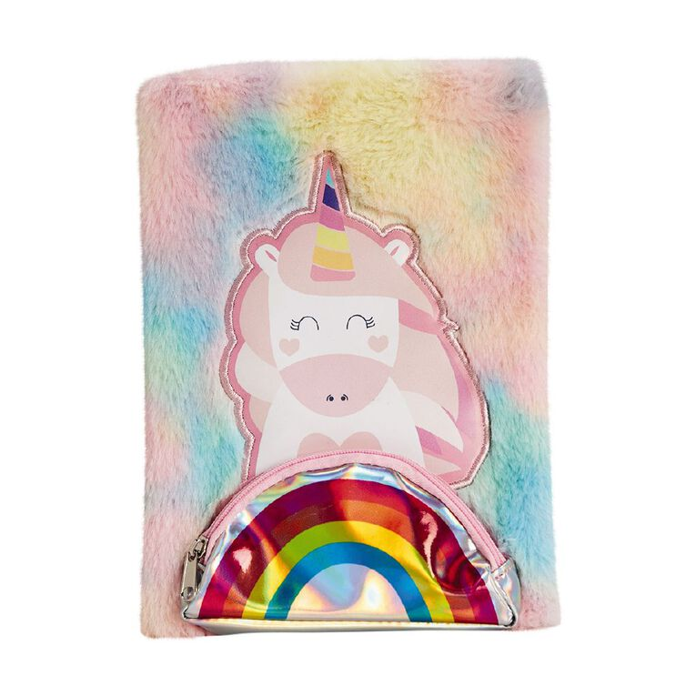 Kookie Novelty Notebook Hardcover Pouch Unicorn Pink, , hi-res