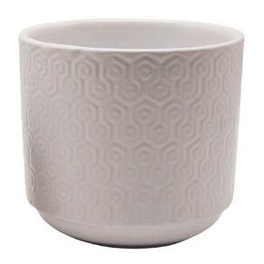 Kiwi Garden Hex Textured Pot White 21cm