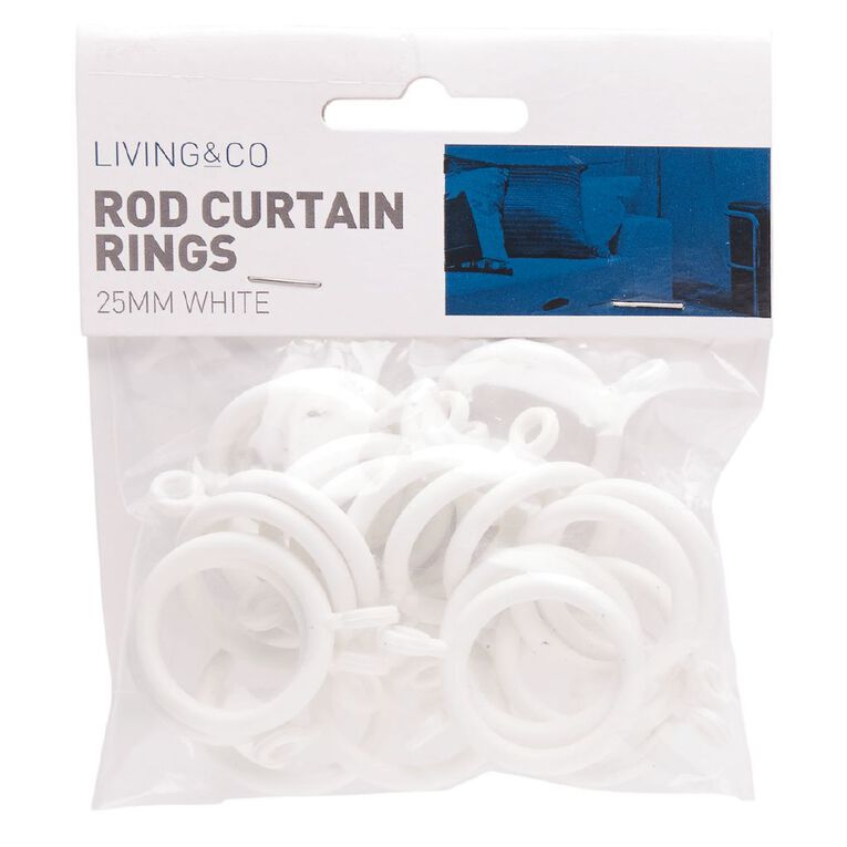 Living & Co Cafe Rod Curtain Rings 20mm White 20 Pack, White, hi-res