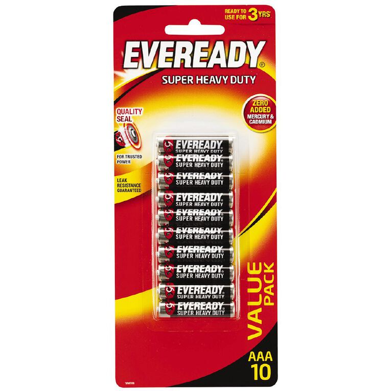 Eveready Super Heavy Duty Batteries AAA 10 Pack, , hi-res