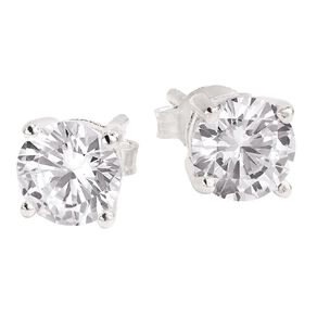 Sterling Silver White CZ Earrings 6mm