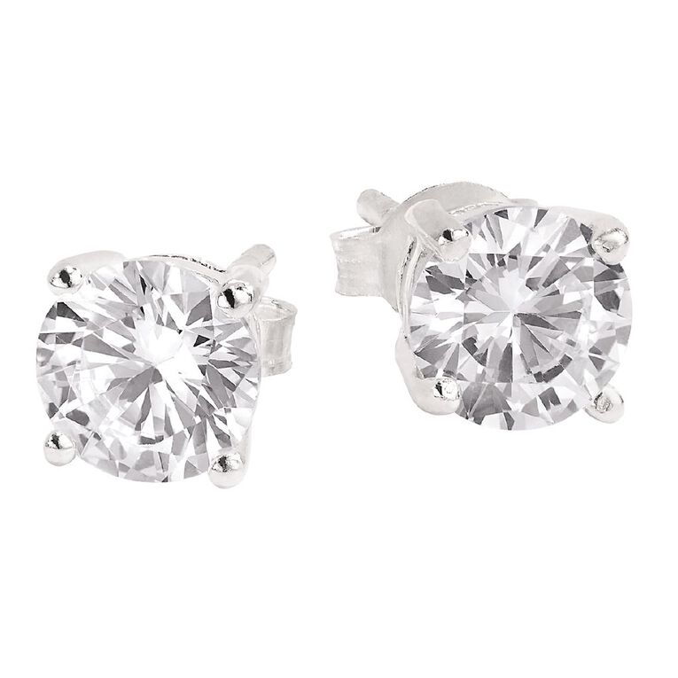 Sterling Silver White CZ Earrings 6mm, , hi-res