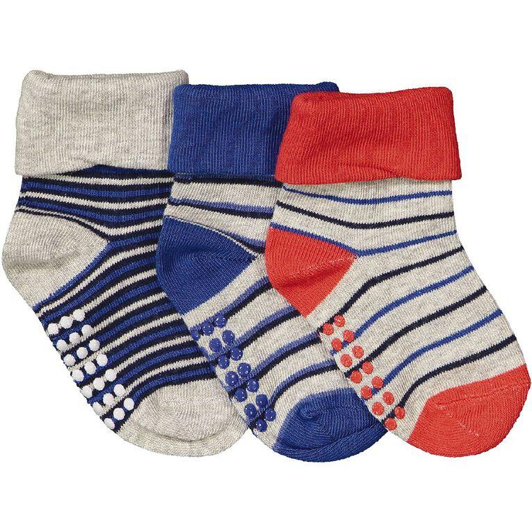 H&H Infants' Turn Top Bootie Socks 3 Pack, Blue Mid, hi-res