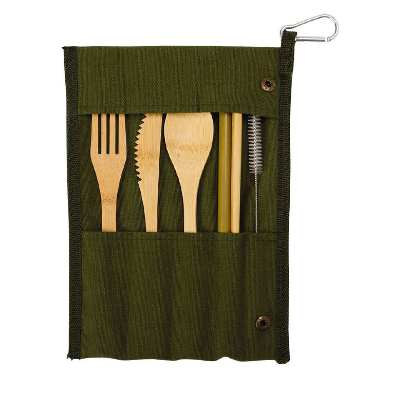 Living & Co On The Go Cutlery Set/Bamboo + Carry Bag Green, , hi-res
