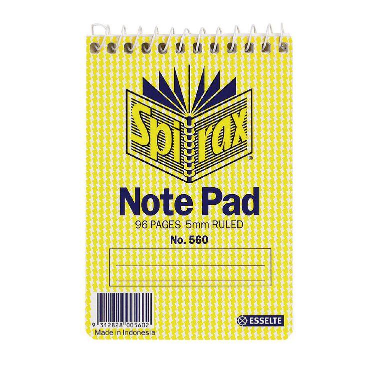 Spirax Notebook Spiral No.560 96pg 5mm Ruled 112 x 77mm Yellow, , hi-res