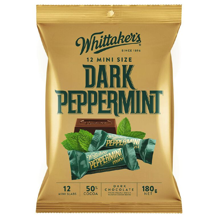 Whittaker's Mini Slab Treat Size Peppermint 12 Pack 180G, , hi-res
