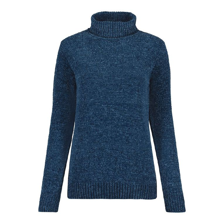 Pickaberry Women's Chenille Roll Neck Jumper, Blue Mid, hi-res