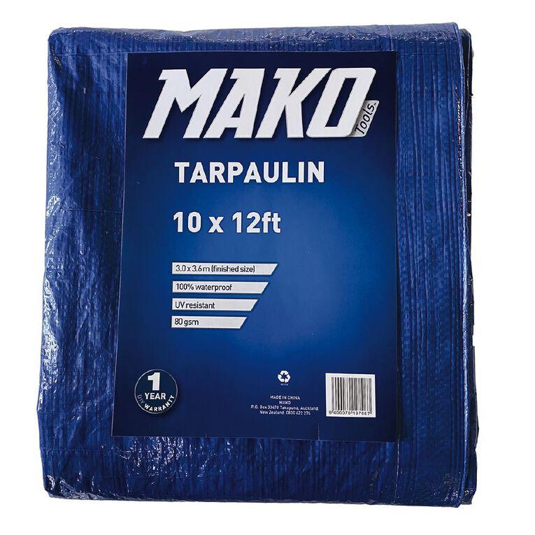Mako Tarpaulin 80gsm 10ft x 12ft Blue, , hi-res
