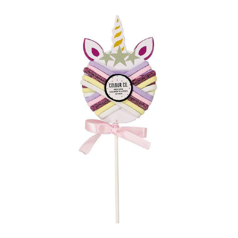 Colour Co. Unicorn Lollipop Hair Elastics 15 Pack, , hi-res
