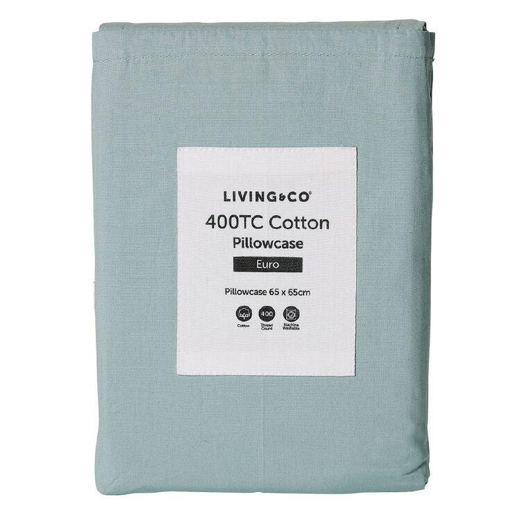 Living & Co Pillowcase Euro Cotton 400 Thread Count Blue 65cm x 65cm, Blue, hi-res