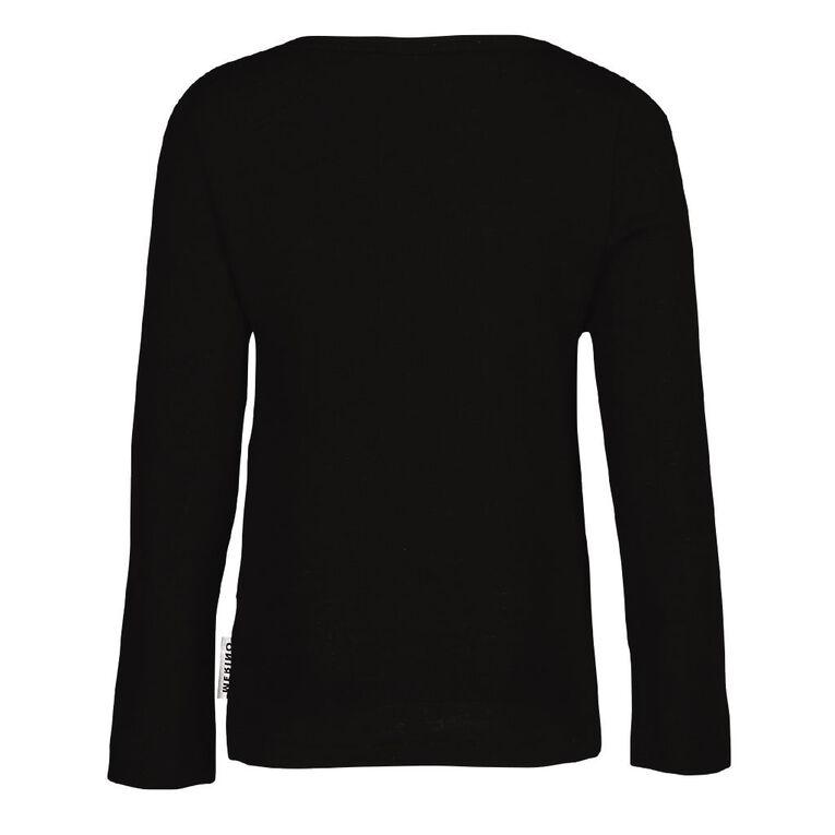 H&H Merino Long Sleeve Thermal Top, Black, hi-res