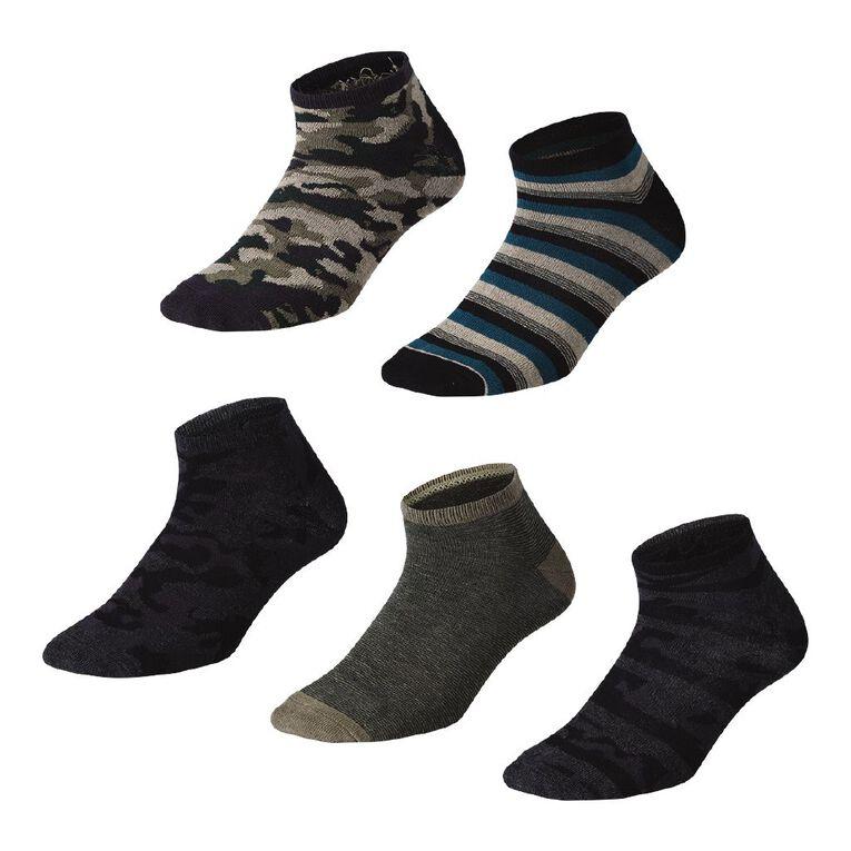 H&H Men's Patterned Liner Socks 5 Pack, Black/Green, hi-res