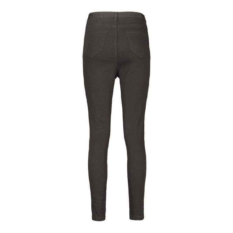 H&H Women's High Rise Skinny Jeans, Black, hi-res