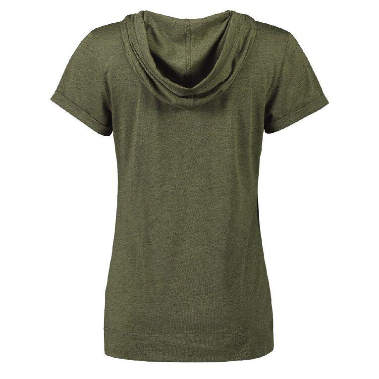 Active Intent Women's Hooded Tee, Green Dark, hi-res image number null