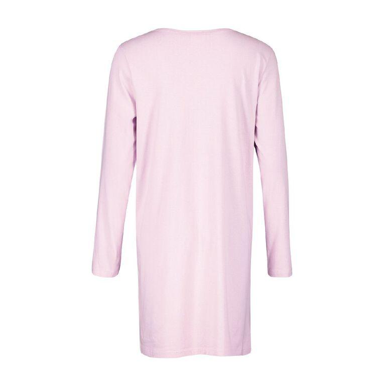 H&H Women's Long Sleeve Tee Nightie, Purple, hi-res