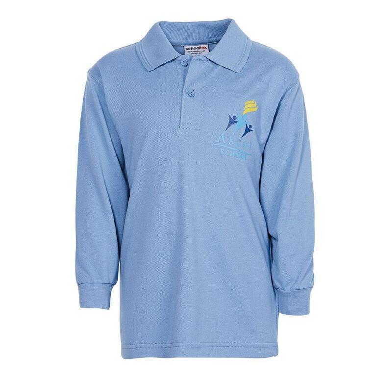 Schooltex Ascot Long Sleeve Polo with Screenprint, Sky Blue, hi-res