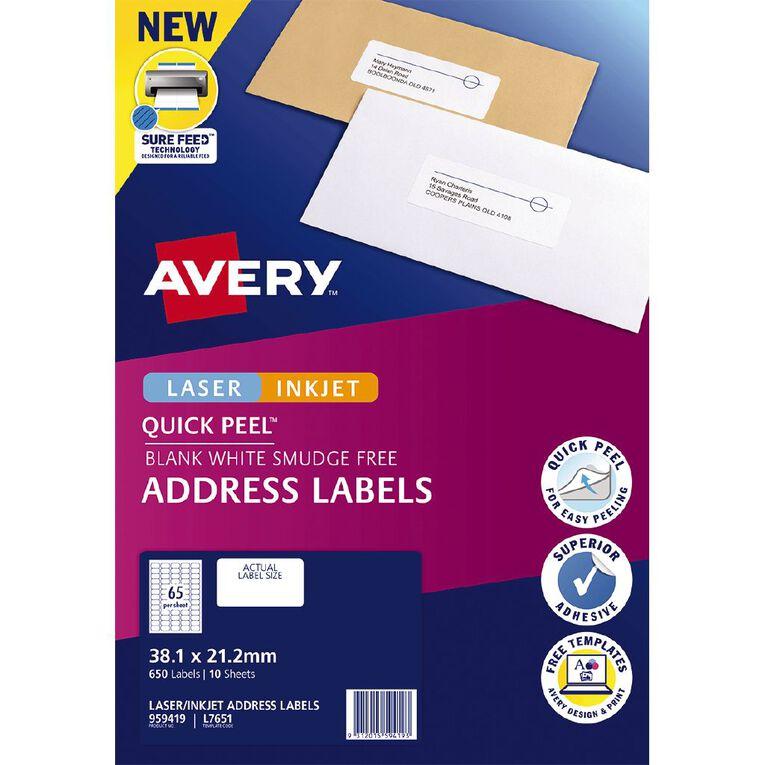 Avery Quick Peel Address Labels Sure Feed Laser&Inkjet Printers, , hi-res