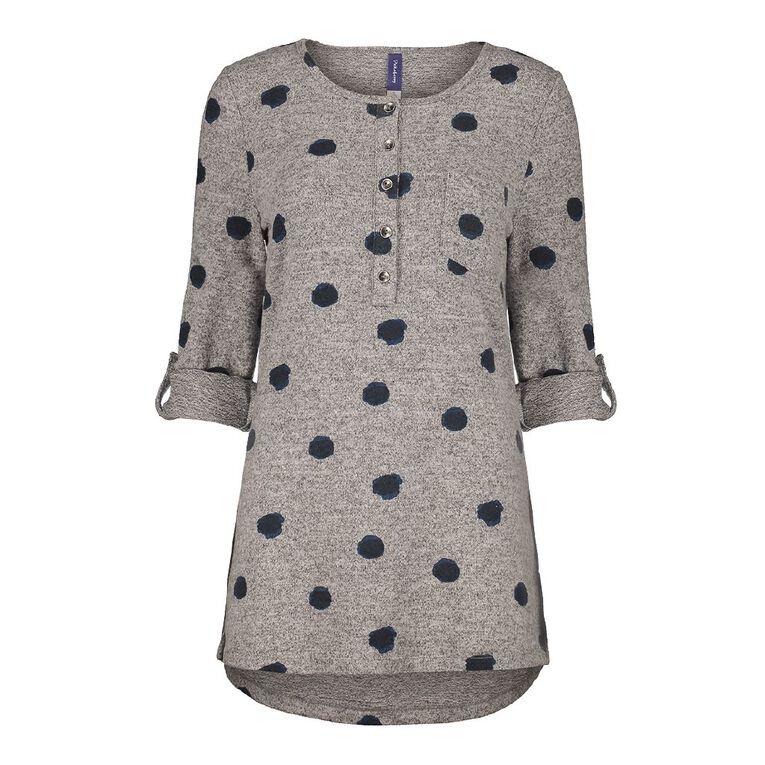 Pickaberry Women's Button Thru Henley, Grey Light, hi-res