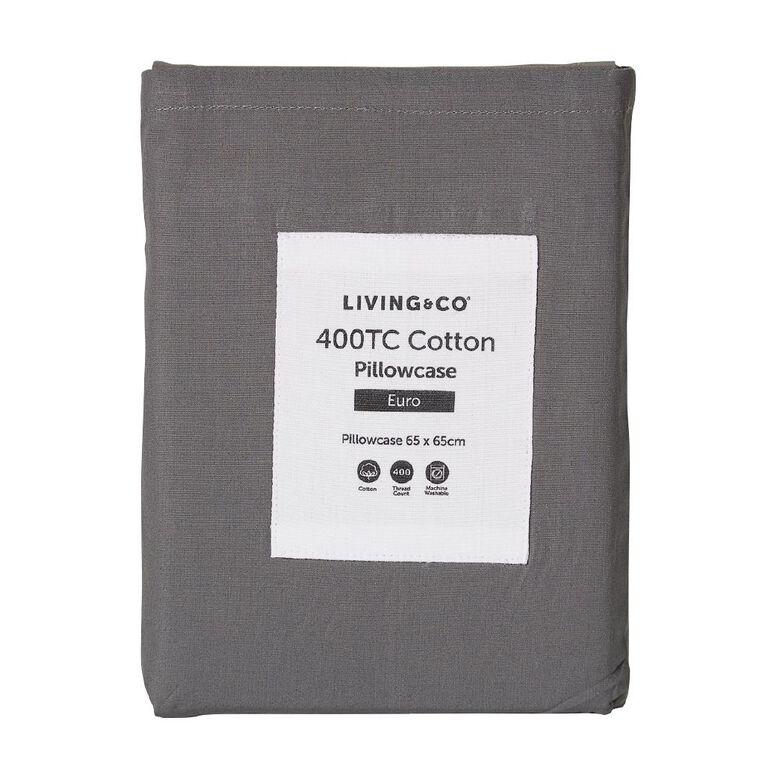 Living & Co Pillowcase Euro Cotton 400 Thread count Charcoal 65cm x 65cm, Charcoal, hi-res