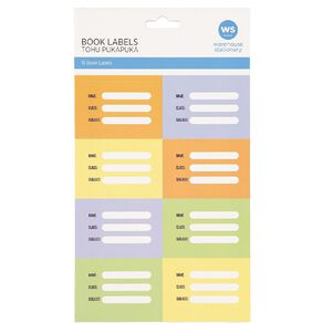 WS Book Labels Pack/16 Splat Colourful