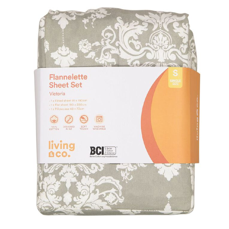 Living & Co Sheet Set Cotton Flannel Victoria Grey Single, Grey, hi-res