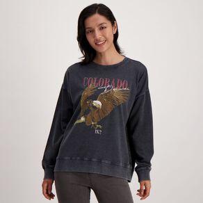 H&H Women's Acid Wash Crew Sweatshirt