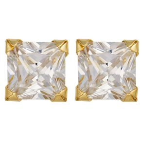 9ct Gold CZ Square Stud Earrings 5mm
