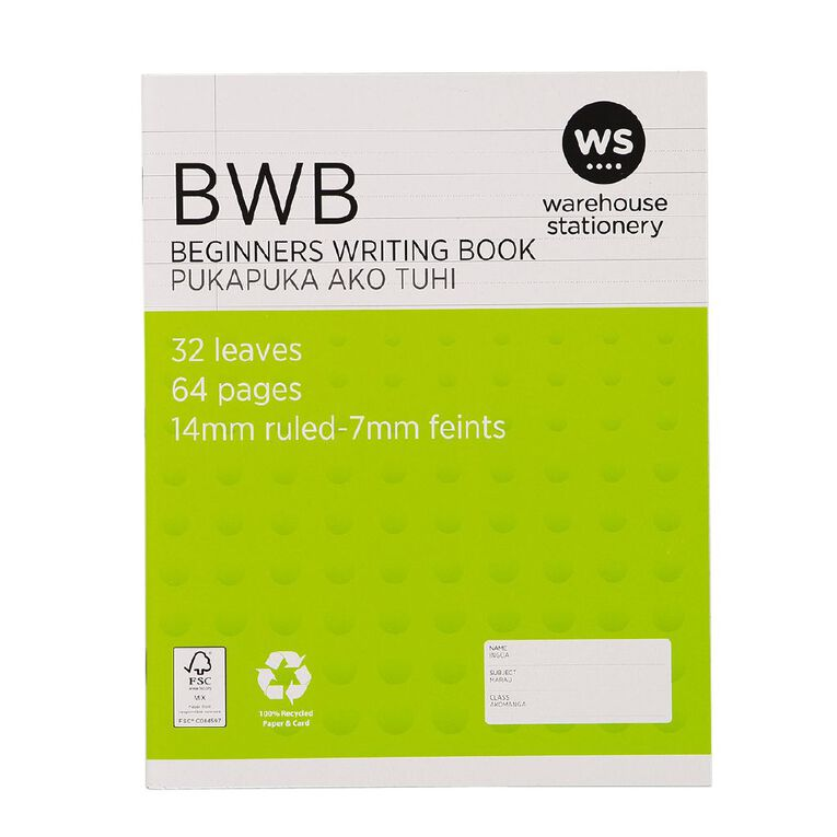 WS Exercise Beginners Writing Book (BWB) 14mm Ruled 32 Leaf Green, , hi-res