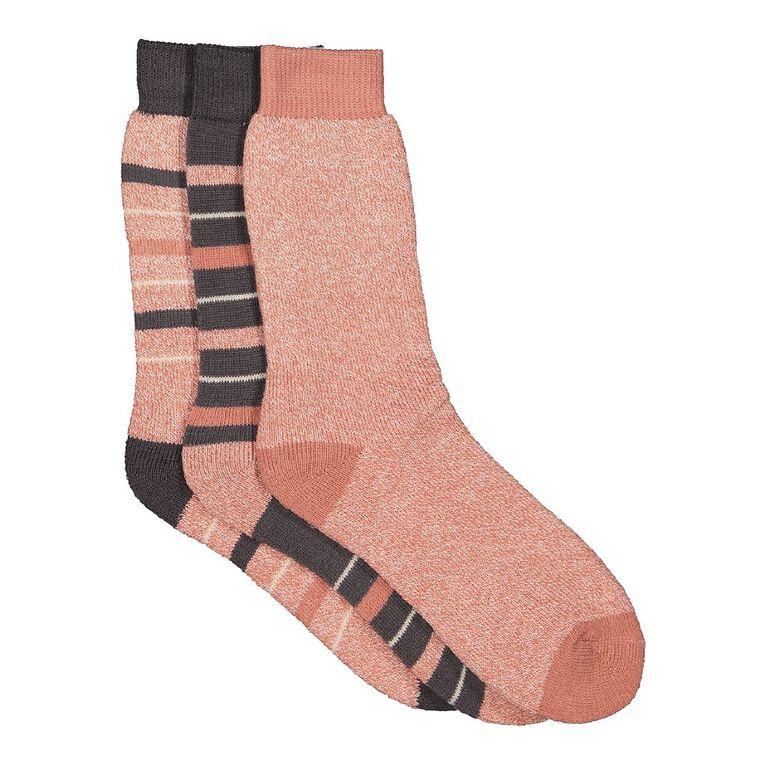 H&H Women's Thermal Socks 3 Pack, Pink Dark W21 PNKGRY, hi-res