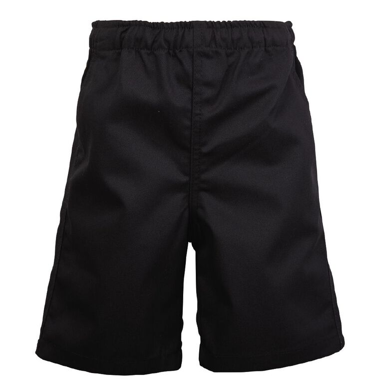 Schooltex Kids' Drill Rugger Shorts, Black, hi-res image number null