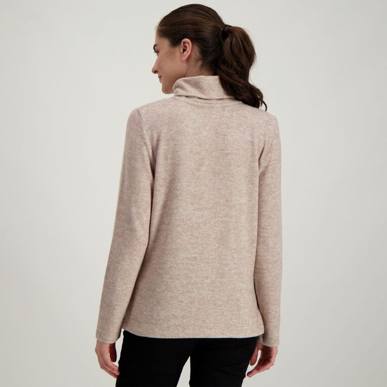H&H Women's Brushed Roll Neck, Taupe, hi-res